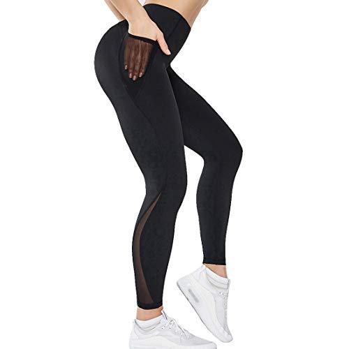 Vertvie Damen Laufhose Elastische Yogahose Sport Leggins Hohe Taille Sporthose Kompressions Fitnesshose Sportleggins für Workout Gym Jogging Sportswear(Schwarz,L)