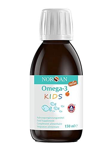 NORSAN Omega 3 KIDS Fischöl Hochdosiert - 1120mg Omega 3 pro Portion - Über 4000 Ärzte empfehlen NORSAN Omega 3 Öl - leichter Verzehr & ohne Aufstoßen