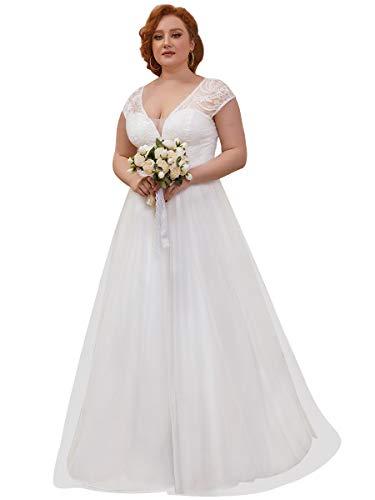 Ever-Pretty Encaje Vestido de Novia Mujer Largo Bohemia A-línea Talla Grande Escote...