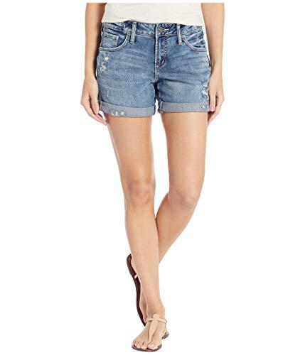 Silver Jeans Co. Women's Mid Rise Boyfriend Shorts, Medium Low Stretch, 34W