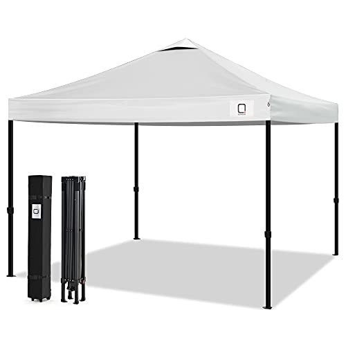 Q QUASAR10x10 Ez Pop Up Canopy Tent,Truss Structure Gazebo,Outdoor Windproof, Rainproof and UV-Proof Instant Shelter,Commercial Tents for 6-8 People with Wheel Bag and Sandbag(White)