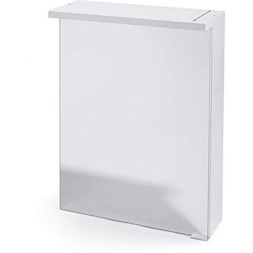 LED Spiegelschrank Dekor mit 2 Glasböden Softclose Weiß Hochglanz