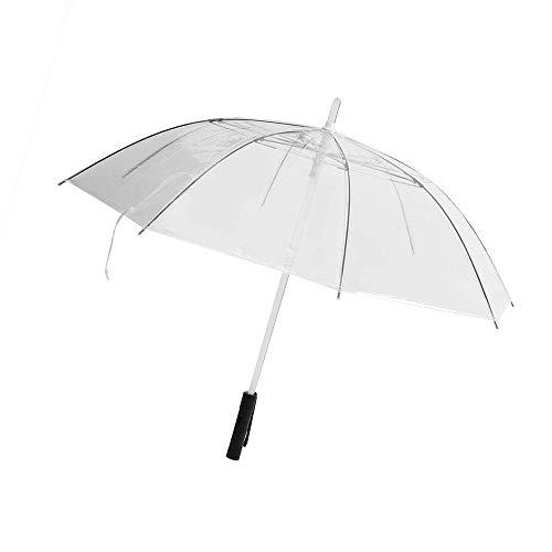 ProProCo LED Regenschirm - Leuchtender Automatik Regenschirm - Hochwertiger Winddichte und Sturmfester Stockschirm mit Taschenlampe - Wasserdichter Prongee Regenschirm Damen und Herren (Transparent)