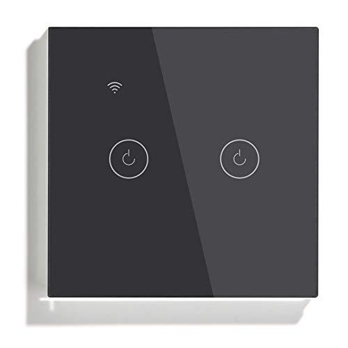 BSEED Interruptor de luz inteligente con Bluetooth, 2 vías 1 vía, wifi, funciona con Tuya Amazon Alexa y Google Home, interruptor de pantalla táctil de cristal negro (requiere cable neutro)