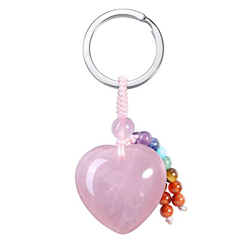 JSDDE, ciondolo a forma di cuore con gemma naturale, portachiavi, ciondolo per borsa, yoga, energia curativa, portafortuna Quarzo rosa Schlüsselanhänger