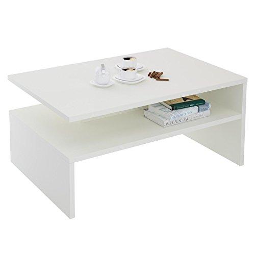 CARO-Möbel Couchtisch Wohnzimmertisch Paulina, 90x60 cm in weiß mit Ablagefläche