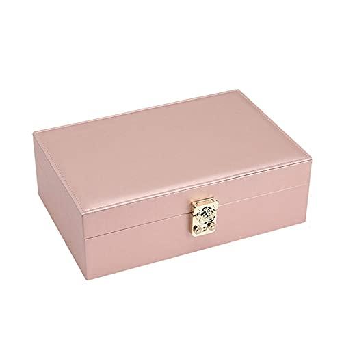 YIXINHUI Cajas de joyería Caja de Joyas de 2 Niveles para Mujeres, Chicas, Funda de Almacenamiento de joyería de Cuero de Cuero de PU de Alta Capacidad para Pendientes Anillos de Pulseras y Relojes