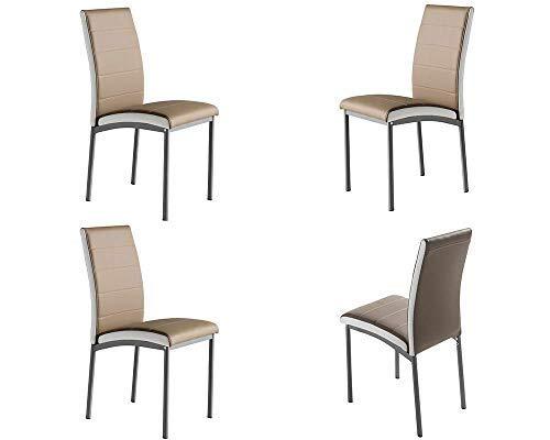 MOMMA HOME Set de 4 Sillas - Modelo Camelia - Color Camel/Blanco - Material Ecopiel/Metal - Medidas 45 x 54 x 92 cm
