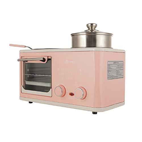 WONOOS Vier-In-Eins-Ofen, Multifunktionaler Nahrhafter Brotbackautomat, Elektrischer Mini-Backofen, Kuchenbackautomat, Eierpfanne, Haushaltsbrot-Pizzaofen, Grill,Rosa