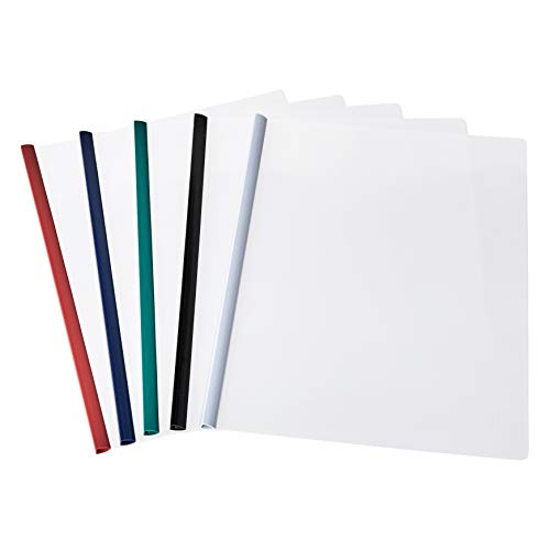 AmazonBasics Letter Size Clear Front Poly Report Cover with Sliding Bar - 50-Pack, Assorted Colors