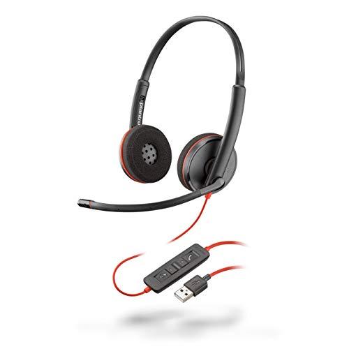 Plantronics Stereo-Headset 'Blackwire C3220' mit USB-A Anschluss, Noise Cancelling, Soundguard und flexiblem Mikrofonarm, Schwarz
