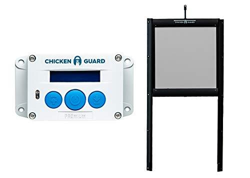 Abridor automático de puertas ChickenGuard® Premium para gallinero apertura y cierre por horario ou sensor de luz más puerta autobloqueante de aluminio, puerta Pop Hole resistente a los depredadores