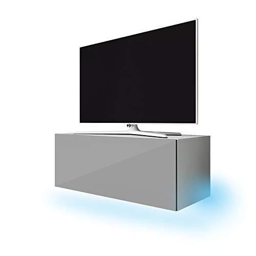 Selsey Lana - TV-meubel 100 cm mat wit/grijs hoogglans.