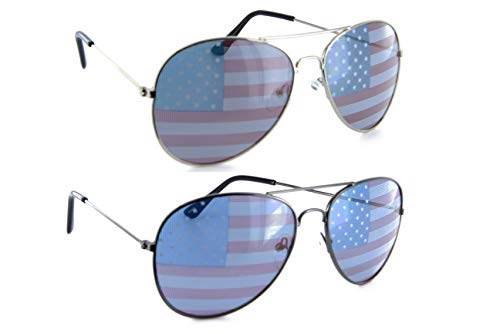 Patriotic American Flag Aviator Sunglasses USA Glasses Gift Set (Silver/Gunmetal, USA Flag)