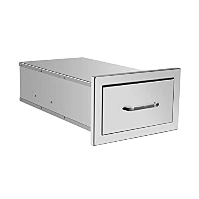 Z/C Outdoor Kitchen Drawers Flush Mount Stainless Steel Access Door BBQ Drawer for BBQ Island,Patio Grill Station Outside Kitchen Cabinet Barbecue Storage Drawers
