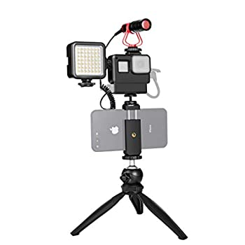 GoPro Housing Case with Microphone LED Light Phone Holder Tripod for Gopro Hero 5 6 7 Vlog Live Stream YouTube Asmr Audio Video Accessories Kit