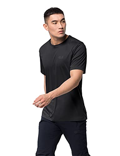 Jack Wolfskin Herren TECH T M schnelltrocknendes T-Shirt, black, M