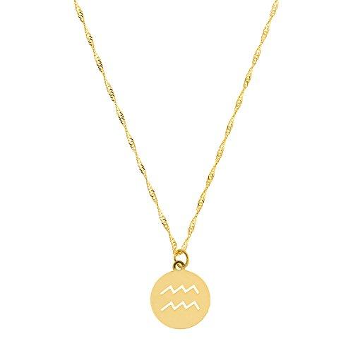 Córdoba Jewels | Kette Sterling Silber vergoldet mit Motiv Aquarium mit Charm Gravur das Horoskop der 10x 10mm. Länge 40cm