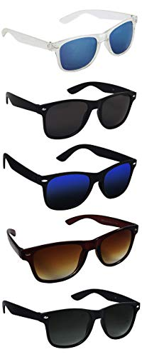 Silver Kartz UV 400 Protection Men's and Women's Aviator Sunglasses (Black, Medium) - Pack of 5