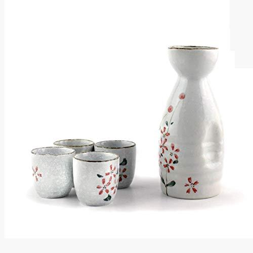 AMYZ Juego de Tazas de Sake japonés de 5 Piezas,Flores de Cerezo pintadas a Mano,diseño de Flores,cerámica de Porcelana,Tazas de cerámica Tradicionales,Copas de Vino artesanales,L
