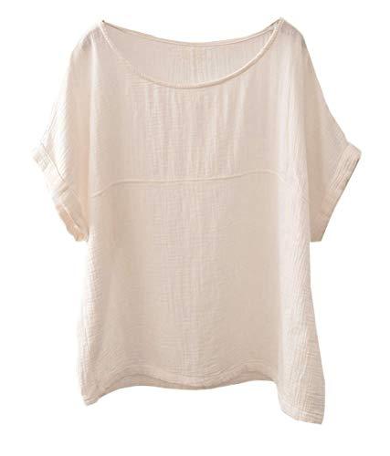 Soojun Women's Cotton Linen Round Collar Boxy Top Patchwork Blouses Beige, Medium