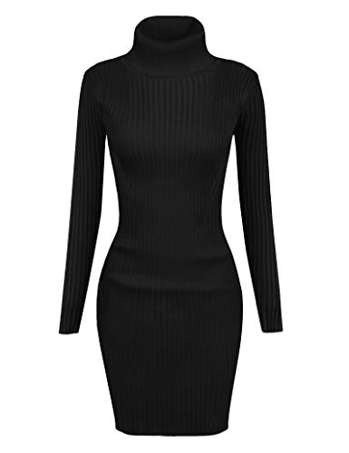 v28 Women Stretchable Turtleneck Knit Long Sleeve Slim Fit Sweater (Medium, Udress Black)