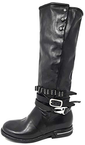 AS98 | Airstep | 516306 | Damen | eleganter Stiefel mit Schnallen, Leder, Nero schwarz (37 EU)