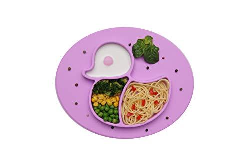 BOBBOLA Kinderteller rutschfest, Baby Teller mit Saugnapf, Platzset Kinder BPA-frei, Kindergeschirr, baby led weaning Teller unterteilt (Ente, violett)