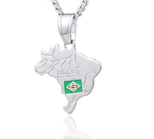 Estilo de Moda Mujeres Brasil Mapa Colgante y Collar Blanco Color Brasil diseño para joyería Unisex