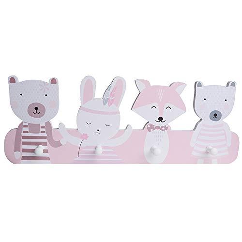 MAICHIHUOY Perchero infantil con 4 ganchos, diseño de animales del bosque, para niños y niñas