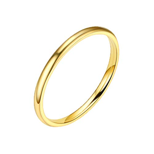 Allywit Sterling Silver Ring High Polish Plain Dome Tarnish Resistant Comfort Fit Wedding Band Ring (8, Gold)