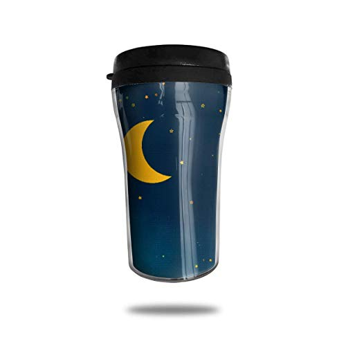 DJNGN Taza de café de viaje azul con estrellas de luna, taza...