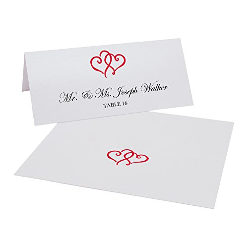 Linked Hearts Printable Place Cards, Ruby Red, Set of 150 (25 Sheets), Laser & Inkjet Printers - Perfect for Wedding, Parties, and Special Events
