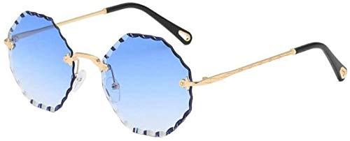 ZYIZEE Gafas de Sol Gafas de Sol sin Montura de Cristal Rojo Transparente Estilo Callejero para Mujer Gafas de Moda Rosa Azul para Mujer Gafas de Sol Redondas para Hombre-C3_Gradient_Blue