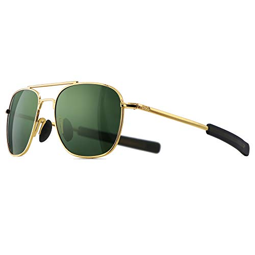SUNGAIT Men's Military Style Polarized Pilot Aviator Sunglasses - Bayonet Temples (Gold Frame/Green Lens, 55) A285JKLV