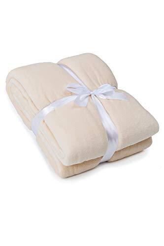 myHomery Ärmeldecke Creme 150x180 cm - Kuscheldecke XL - TV-Decke mit Ärmeln - Fleecedecke als Geschenk - Sofadecke mit Taschen für IPad Fernbedienung und Füße
