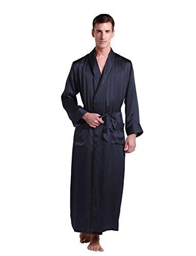 LilySilk Seide Bademantel Herren Morgenmantel 100% Maulbeerseide Nachtwäsche 22 Momme (X-Large, Blau) Verpackung MEHRWEG