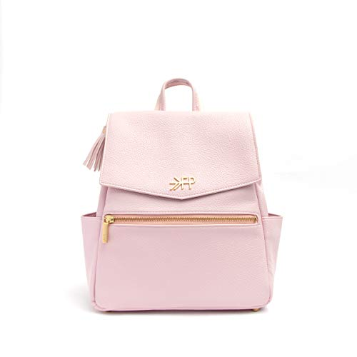 Freshly Picked - Convertible Mini Classic Diaper Bag Backpack - Large Internal Storage 8 Pockets Wipeable Vegan Leather - Blush Pink