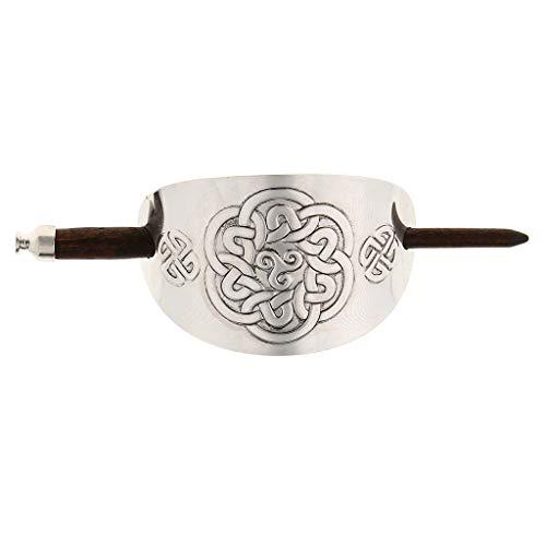 Inzopo Pinza para el pelo hecha a mano de madera tallada con palo en metal curvado cubierta para mujeres herramienta de peinado - 09, 14 cm 9