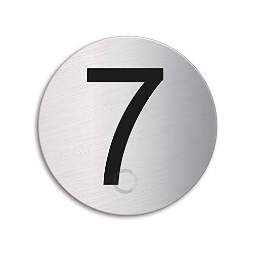 Plaque Numéro de porte 7 | Ø 75 mm autocollant | acier inox brossé 39077