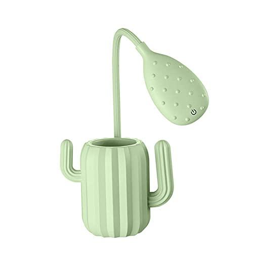 LLDE Lámpara LED de mesa regulable, protección para los ojos, portátil, lámpara de lectura, soporte para lápiz, ojo ajustable, lámpara de mesa creativa con cactus nocturnos.