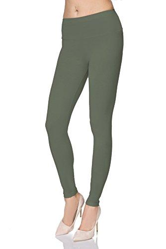 FUTURO FASHION - Damen Leggings aus Baumwolle - knöchellang - weich - Übergrößen - Khaki - 46 Klassische Bundhöhe
