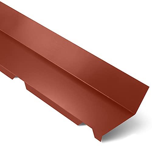 Faîtière Crantée Contre Mur AXEL- Faîtière Toiture - 2100x155x155 mm - Recouvrement Transversal 100 mm - Acier 0,75 mm - Revêtement Polyester 25µm - Garantie 10 Ans - Rouge Tuile RAL 8012 - YOUSTEEL