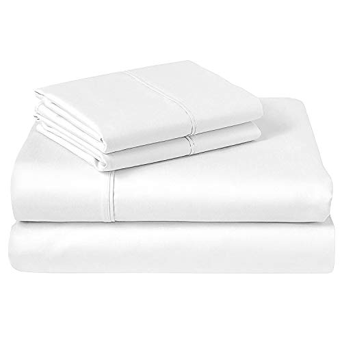 Pizuna 400 Thread Count Cotton King Bed Sheet Set White, 100% Long Staple Cotton Bed Sheets King Size, Soft Sateen Weave King Size Sheets includes - 1Fitted Sheet, 1Flat Sheet & 2 Pillowcases