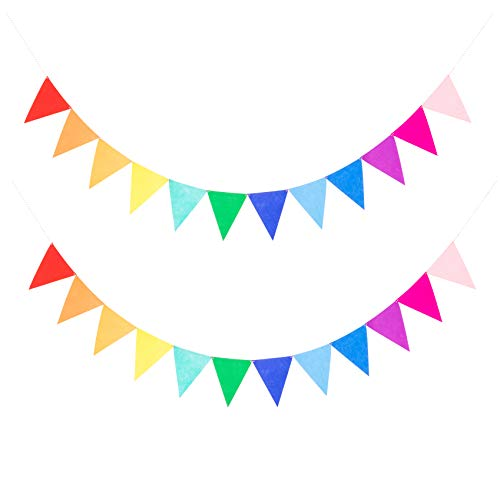 2 Assembled Rainbow Banners Felt Bunting Multicolor for Colorful Birthday Party Decorations