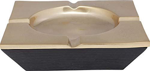 Kare 61677 asbak Galan Square, aluminium messing gecoat, donkergroen/goud