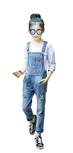 KidscoolSpace Girls Big Bibs Pockets Ripped Holes Washed Cotton Jeans Overalls,Blue,6-7 Years