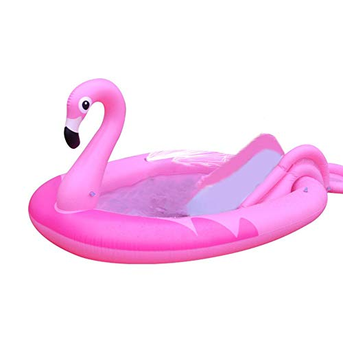 flouris Swimmingpool Babypool mit Rutsche Pool Aufblasbare Schwimmboot Planschbecken mit Tiermuster Kinderpool Garten Schwimmbecken Baby Pool-Flamingo