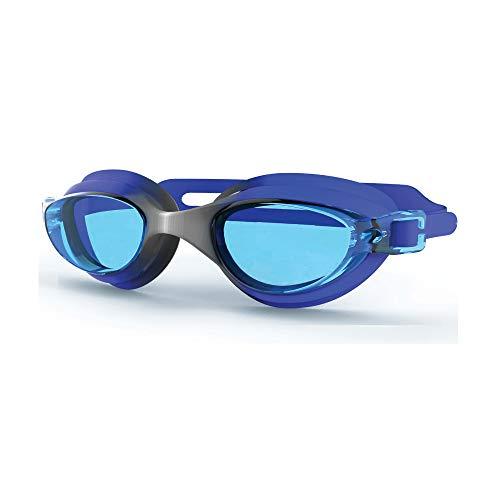 Occhialini da nuoto blu in pvc e lenti azzurrate, occhiali da nuoto regolabili con cinturino sistema easy-strap, occhiali piscina nuoto per adulti e bambini, occhialini piscina impermeabili in pvc