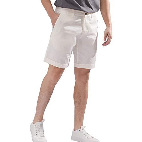 Pantalones Cortos Sencillos de Color sólido para Hombre Moda Casual Trend Pantalones Cortos Rectos de Cintura Media con Botones y Tapeta 36